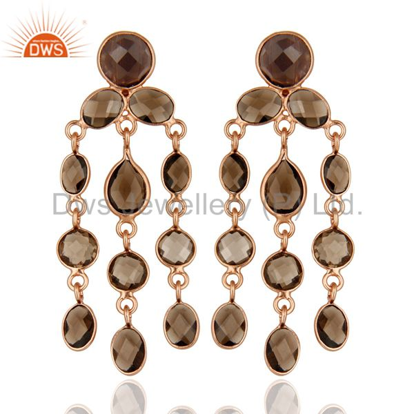 Rose Gold Plated Sterling Silver Smoky Quartz Gemstone Chandelier Earrings