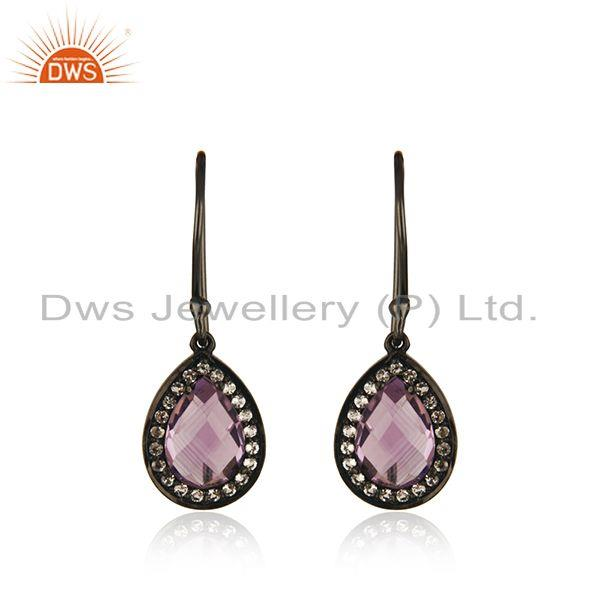 White Topaz and Amethyst Gemstone Black Rhodium Plated 925 Silver Drop Earring