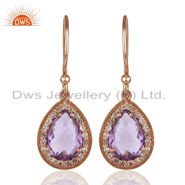 White Topaz and Amethyst Gemstone 925 Silver Drop Earrings Suppliers