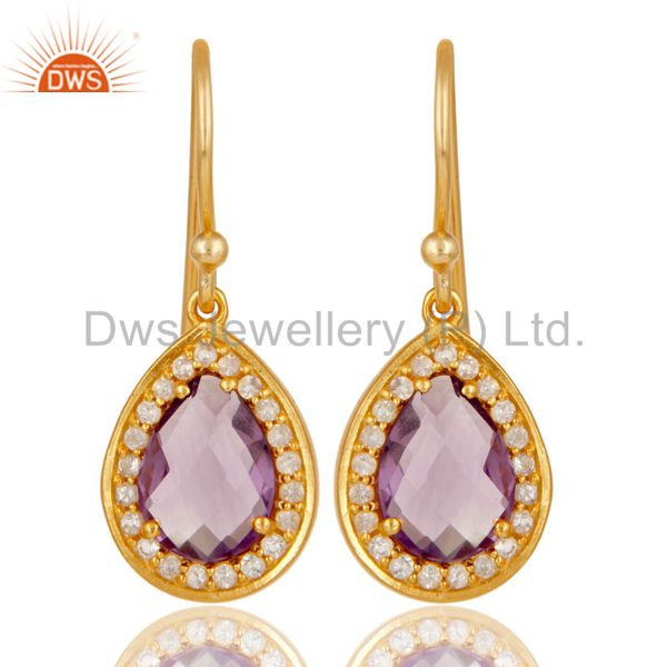 18k Yellow Gold Plated Sterling Silver Amethyst & White Topaz Drop Earrings