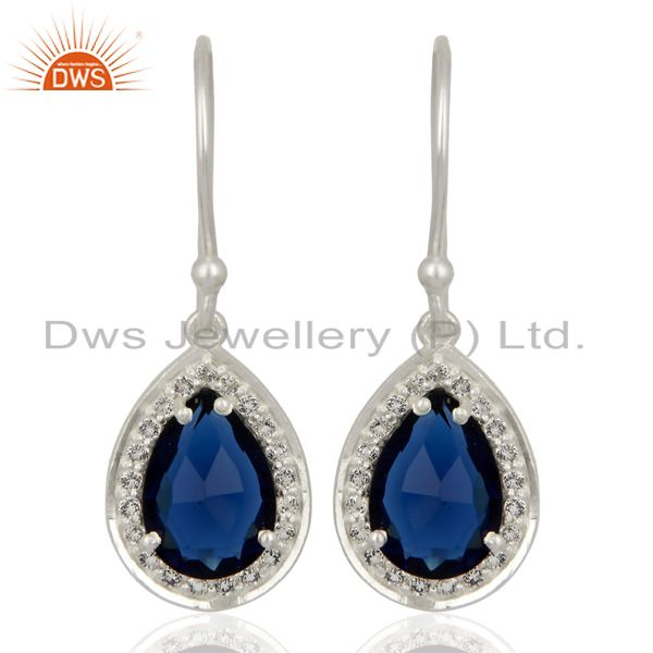Blue Corundum White Topaz Dangle 925 Sterling Silver Earrings Gemstone Jewelry