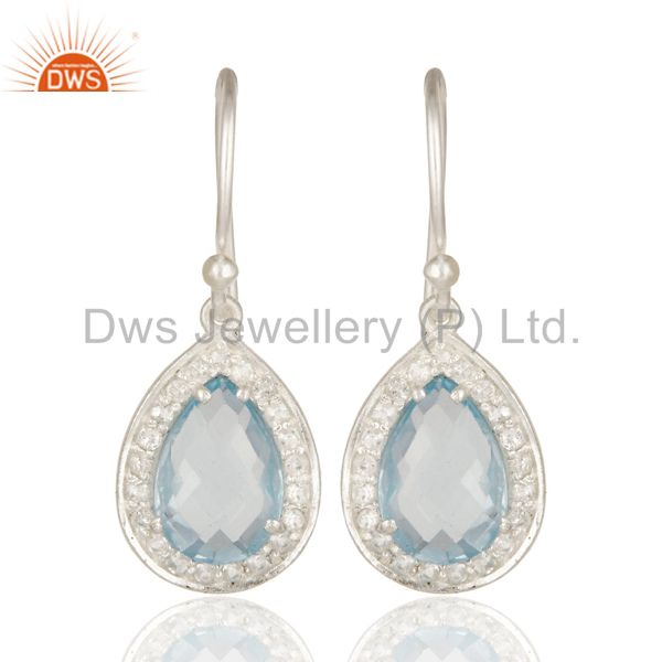 925 Sterling Silver Blue Topaz And White Topaz Gemstone Drop Earrings