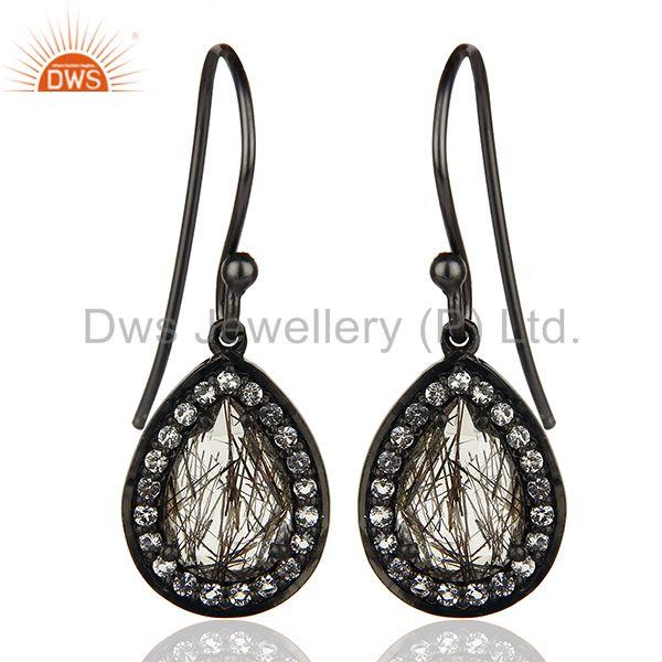 Black Rutile and White Topaz Gemstone Black 925 Silver Earrings
