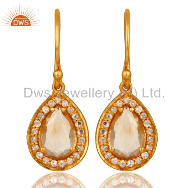 Citrine And White Topaz Teardrop Earrings Made In 18K Gold Over 925 Silver