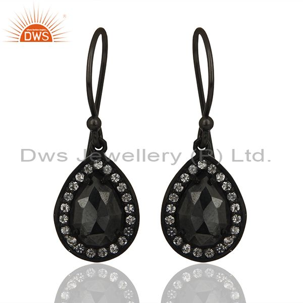 Black Rhodium Plated 925 Silver Gemstone Drop Earrings Wholesale