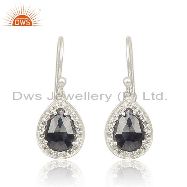 Hematite Gemstone 925 Fine Sterling Silver Drop Earrings Manufacturer India