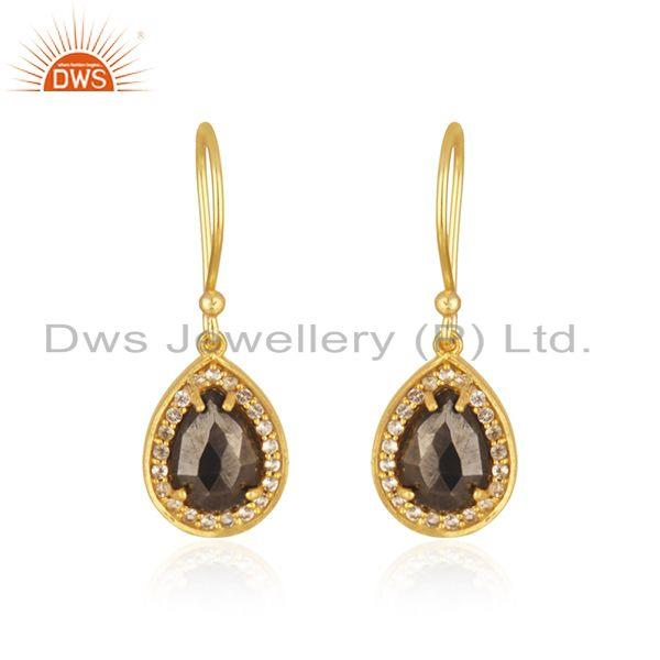 White Topaz and Hematite Gemstone Gold Plated 925 Silver Drop Earring