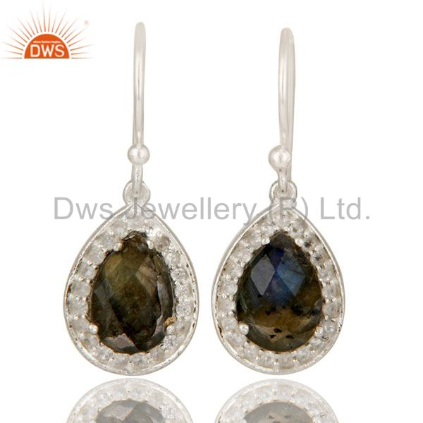 925 Sterling Silver Labradorite And White Topaz Halo Style Teardrop Earrings