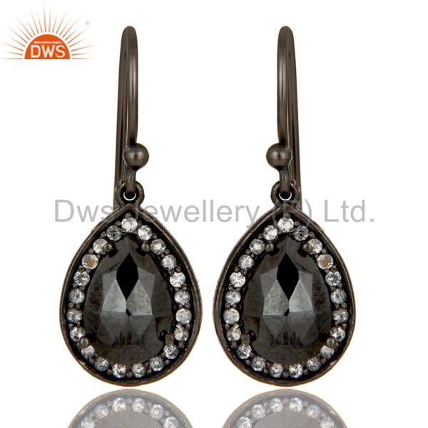 Oxidized Sterling Silver Hematite And White Topaz Dangle Earrings