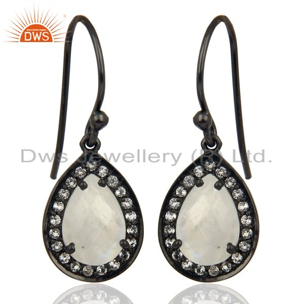 Rainbow Moonstone White Topaz Dangle Black Oxidized 925 Sterling Silver Earrings