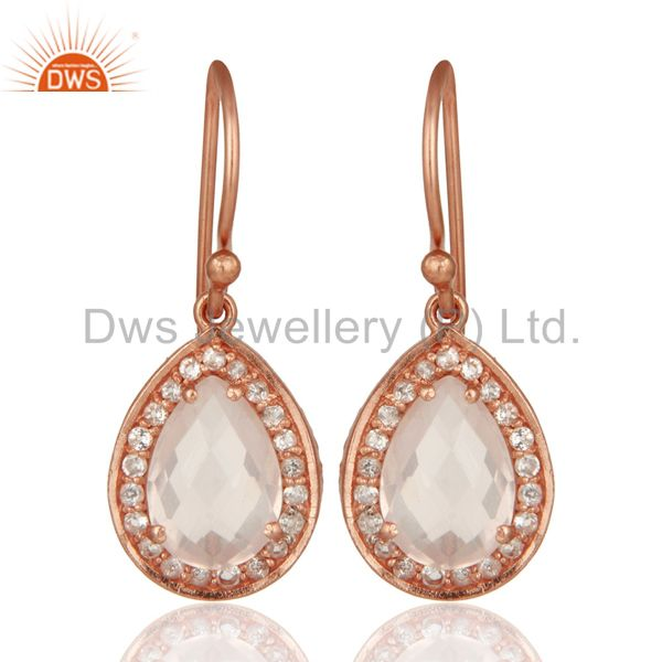 18K Gold Plated Sterling Silver Rose Quartz And White Topaz Drop Earrings