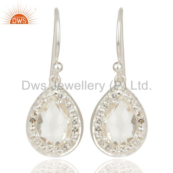 Solid 925 Silver Crystal and Cz Gemstone Drop Earrings Manufacturer