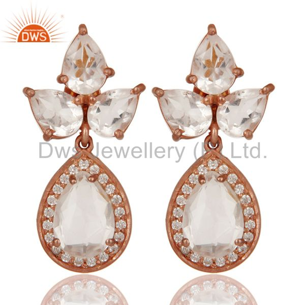 Rose Gold Plated Sterling Silver Crystal and Zircon Designer Dangle Earrings