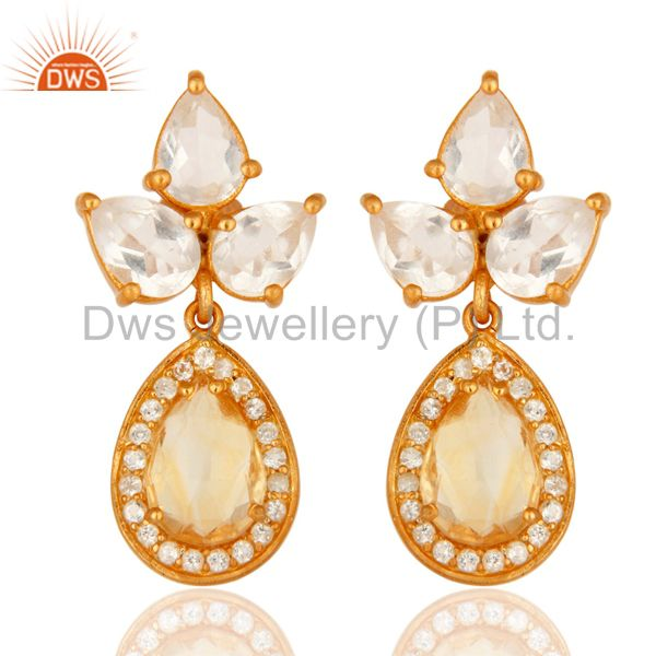 18K Gold Plated Sterling Silver Citrine, Crystal And White Topaz Drop Earrings