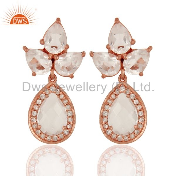 18K Rose Gold Plated Sterling Silver Crystal Quartz And CZ Post Stud Earrings