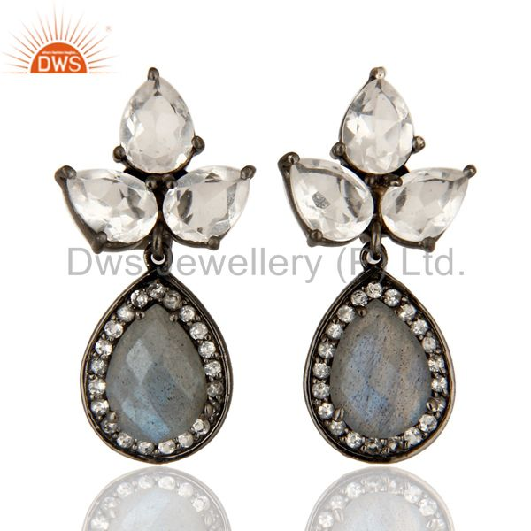 Labradorite And Crystal Quartz Gemstone Rhodium Plated Sterling Silver Earrings