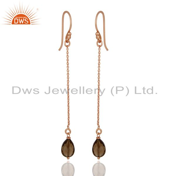 Smoky Quartz Rose Gold Plated Sterling Silver Long Chain Dangle Earrings
