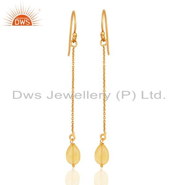 14K Gold Plated Sterling Silver Long Chain Dangle Hook Earrings With Chalcedony