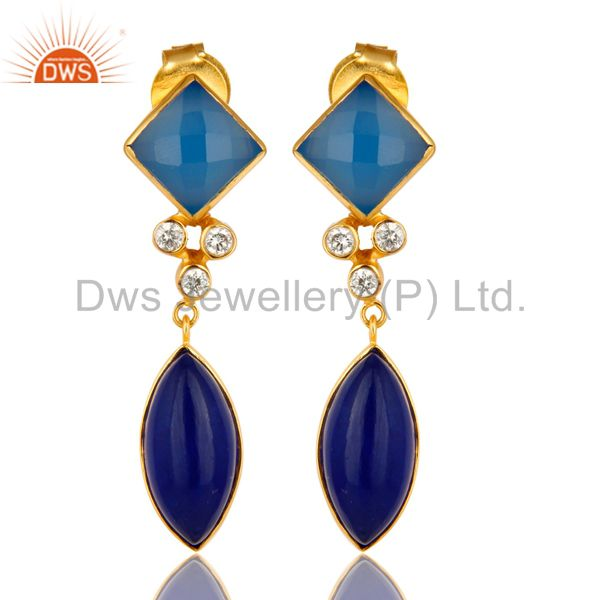 22K Yellow Gold Plated Blue Aventurine And Chalcedony Earrings With CZ