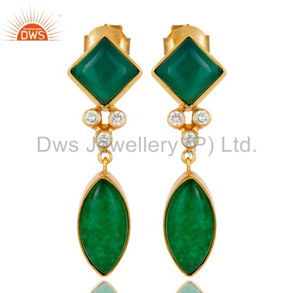 22K Yellow Gold Plated Brass Green Aventurine And Cubic Zirconia Dangle Earrings