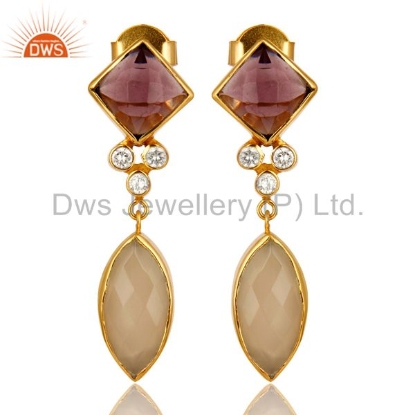 22K Yellow Gold Plated Hydro Amethyst And Chalcedony Dangle Earrings With CZ