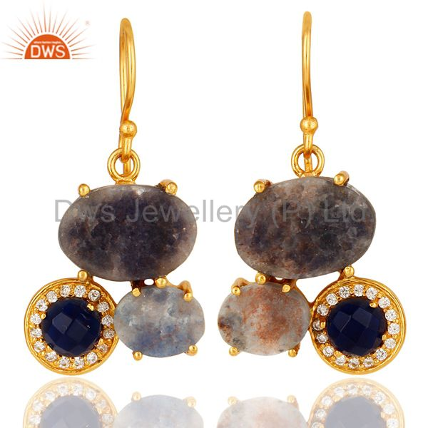 18K Gold Over Sterling Silver Rough Blue Sapphire & CZ Designer Dangle Earrings