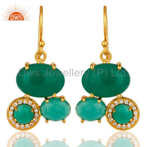 18K Yellow Gold Plated Brass Green Onyx And Cubic Zirconia Designer Earrings