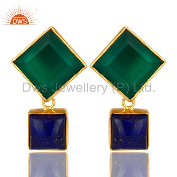 14K Yellow Gold Plated Green Onyx And Lapis Lazuli Gemstone Earrings