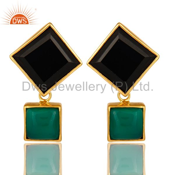 Handmade Green Onyx And Black Onyx Gemstone Gold Plated Earrings