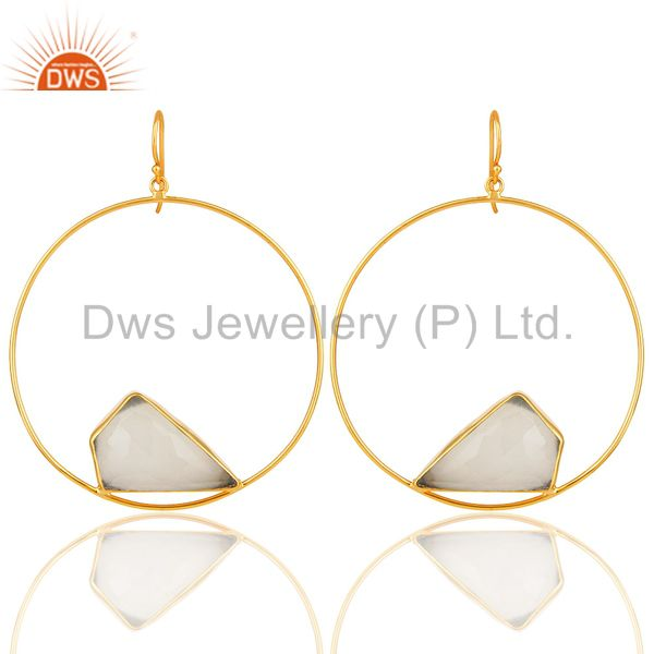 14K Yellow Gold Plated Brass White Moonstone Circle Dangle Earrings