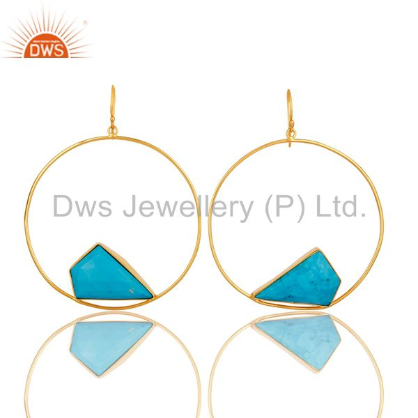18K Yellow Gold Plated Over Brass Turquoise Bezel Set Dangle Earrings