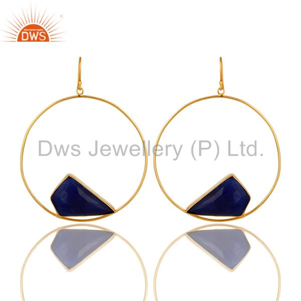 Natural Blue Aventurine Gemstone Handmade 22K Gold plated Brass Circle Earrings