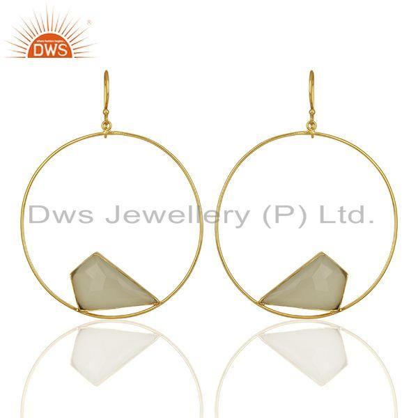 White Chalcedony Gemstone Gold Plated Brass fashion Earrings Supplier