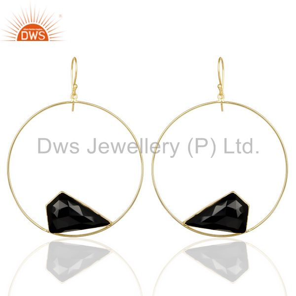 Black Onyx Gemstone Gold Plated Brass Fashion Big Earrings Manufacturer India