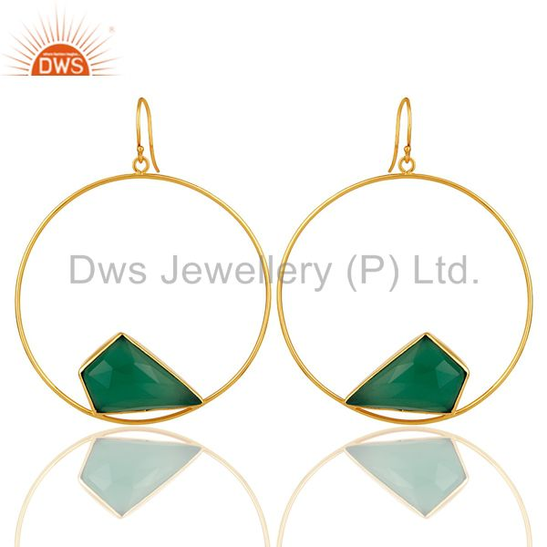 Handmade Green Onyx Circle Earrings With 18K Gold Plated