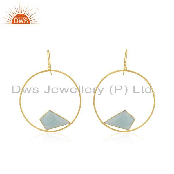 Yellow Gold Plated 925 Silver Chalcedony Gemstone Round Earring Wholesale
