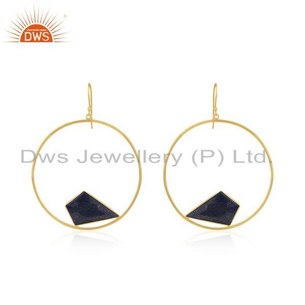 92.5 Sterling Silver Yellow Gold Plated Lapis Lazuli Gemstone Earring Wholesaler