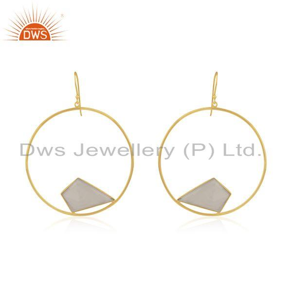 White Chalcedony Gemstone Gold Plated 925 Silver Women Earrings Wholesale