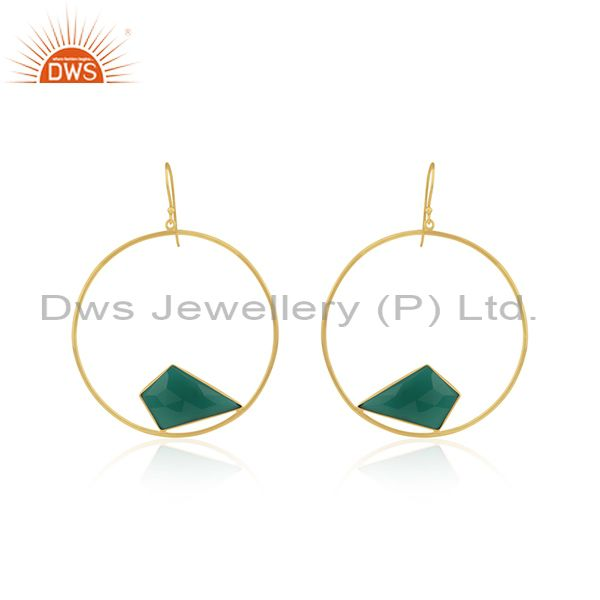 Green Onyx Gemstone 925 Sterling Silver Gold Plated Earrings Manufacturer India