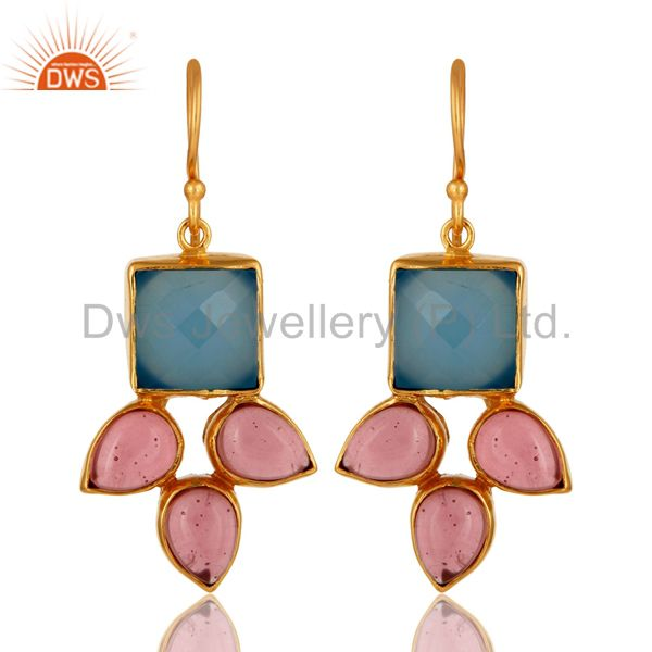 Handmade Aqua Blue Chalcedony And Pink Glass Earrings With Gold Plated