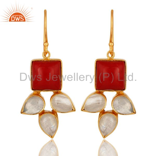 Natural Rainbow Moonstone And Coral Gemstone Earrings Made In 18K Gold On Brass