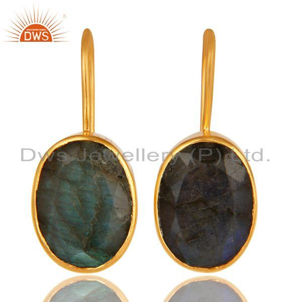 18K Yellow Gold Plated Brass Natural Labradorite Gemstone Earrings