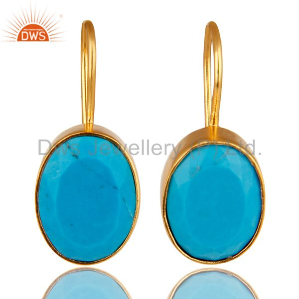 Handmade Turquoise Gemstone 18K Yellow Gold Plated Brass Dangle Earrings
