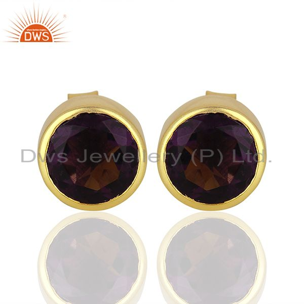Hydro Amethyst Gemstone Gold Plated Womens Fashion Stud Earrings