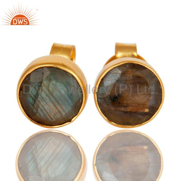 14K Yellow Gold Plated Brass Labradorite Gemstone Stud Earrings