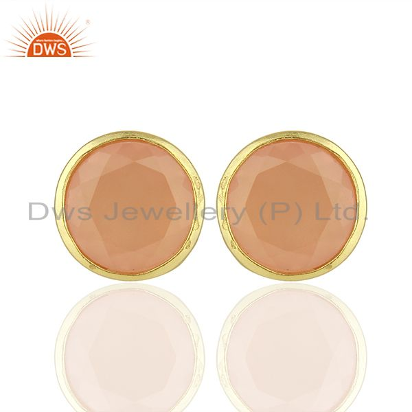 Gold Platd Brass Rose Chalcedony Fashion Gemstone Stud Earrings