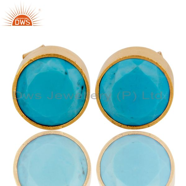 18K Yellow Gold Plated Brass Bezel Set Turquoise Stud Earrings For Womens