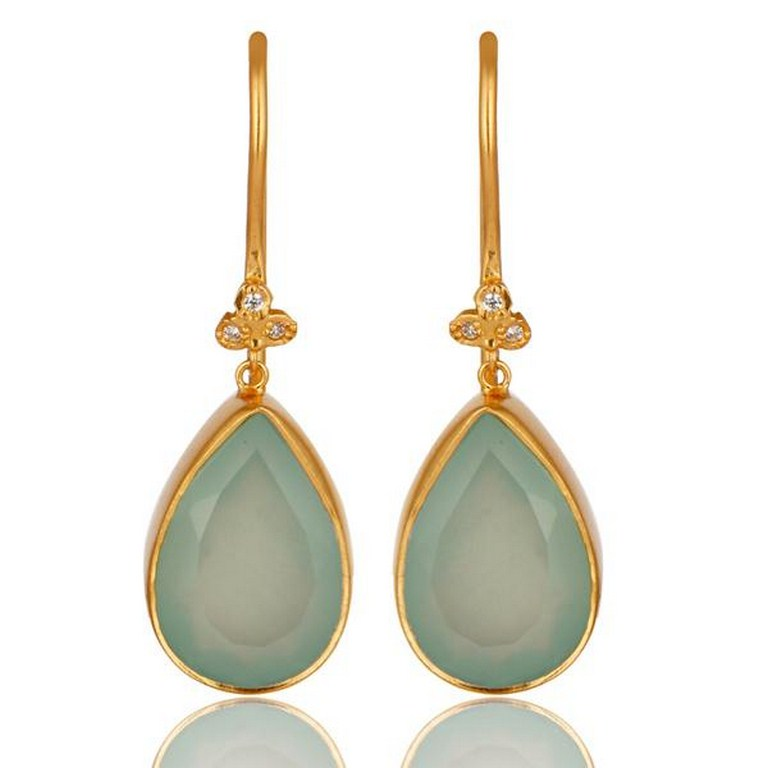 14K Yellow Gold Plated Brass Aqua Blue Chalcedony Gemstone & CZ Dangle Earrings