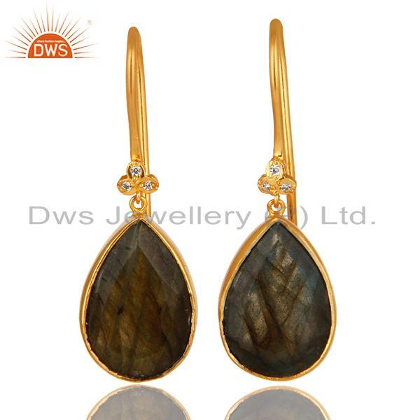 18K Yellow Gold Plated Brass Natural Labradorite Gemstone Earrings With CZ