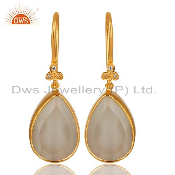 18K Yellow Gold Plated Brass White Moonstone Bezel Set Drop Earrings